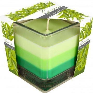 Poze Lumânare parfumată în pahar în trei culori - ceai verde