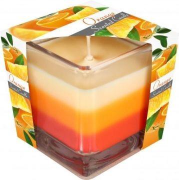 Poze Lumânare parfumată în pahar în trei culori - portocala