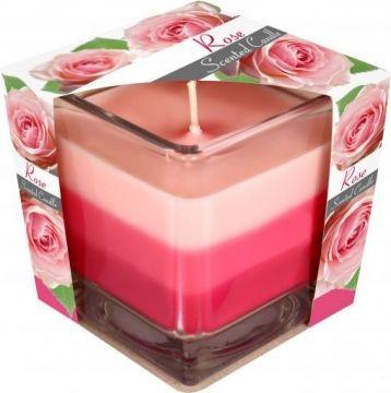 Poze Lumânare parfumată în pahar în trei culori - trandafir