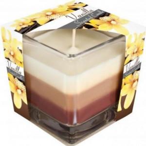 Lumânare parfumată în pahar în trei culori - vanilie