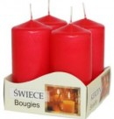Lumânări stâlp 40x80 mm - culori simple rosu
