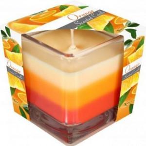 Lumânare parfumată în pahar în trei culori - portocala