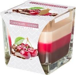 Lumanare parfumata in pahar in trei culori cirese si ciocolata