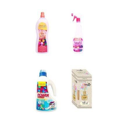 Pachet promo, Parfum Buble Gum 4 produse: odorizant textil 500 ml, balsam 2 litri, detergent lichid 1.5 litri, odorizant camera bete 100 ml-Turbo Clean Profesional