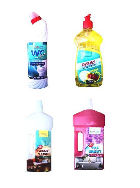Pachet promo Curatenie in Casa Turbo Clean Profesional 4 produse, Detergent Vase 0,5L; WCGEL0,75L Detergent Parchet 1L; Detergent gresie si faianta 1,5L
