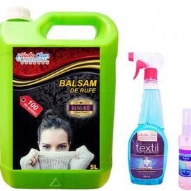 Pachet Promo 3 produse Premium Lux; balsam superconcentrat 5l,parfum textil 0,5l, esenta concentrata pe baza de ulei 50ml