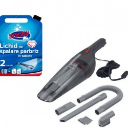 Aspirator auto+10 litri lichid parbriz* 12 Volti, 6 accesorii conectare, doar la bricheta auto,Black&Decker NVB12AVA-XJ