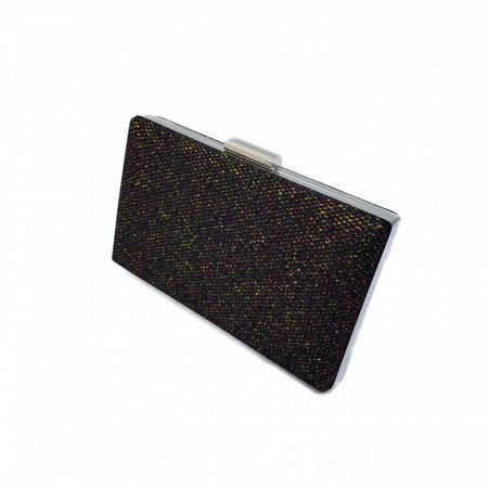 Clutch dreptunghiular cu insertii lurex, Tia accesorii, negru/auriu