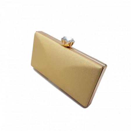 Clutch elegant, Tia accesorii, cu inchidere tip floare, auriu/sampanie
