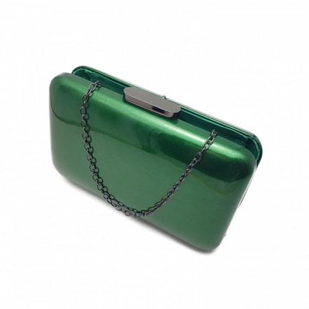 Clutch piele ecologica lacuita, Tia accesorii, verde intens