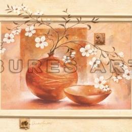 Tablou ''Flori albe in vase de lut II'' inramat