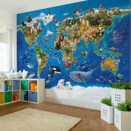 Fototapet vlies pentru copii Harta lumii cu animale