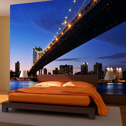 Fototapet - Manhattan Bridge illuminated at night