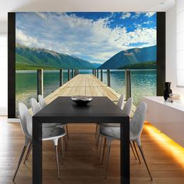 Fototapet - Mountain lake bridge