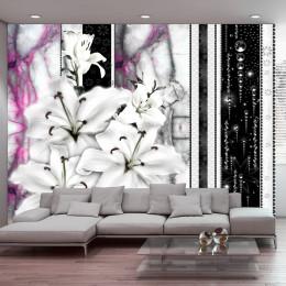 Fototapet vlies Crini albi pe marmura violet