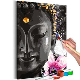 Pictura pe numere - Buddha si Floare