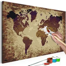 Pictura pe numere - Harta lumii (Culoare Cafenie)