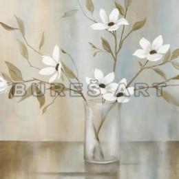 Tablou cu flori albe in vas transparent, inramat