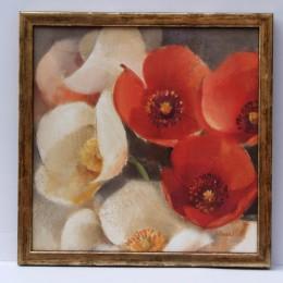 """Tablou cu flori """"Rosii si albe'' inramat"""