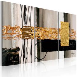 Tablou pictat manual - Abstract cu auriu, alb si negru
