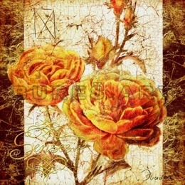 Tablou ''Trandafiri galbeni cu boboci'' inramat