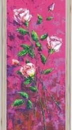 "Tablou ""Trandafiri roz"" rama argintie cu striatii"