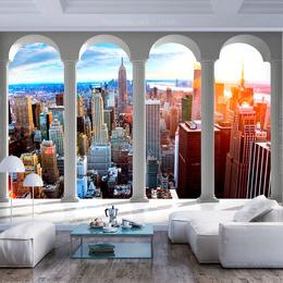 Fototapet 3D orase- Pillars and New York