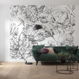 Fototapet Grafica florala in alb negru