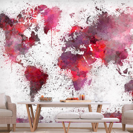 Fototapet - World Map: Red Watercolors