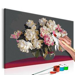 Pictura pe numere - Flori Albe in Vaza
