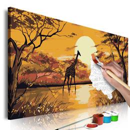 Pictura pe numere - Girafa la Apus de Soare
