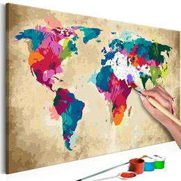 Pictura pe numere - Harta lumii (Multicolora)
