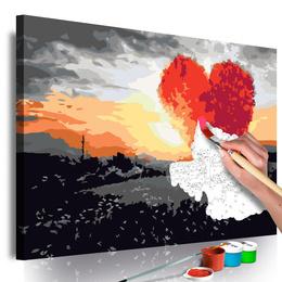 Pictura pe numere - Inima in Forma de Copac (Rasarit de Soare)