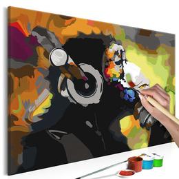 Pictura pe numere - Maimuta cu Casti (Multicolora)