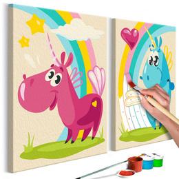 Pictura pe numere pentru copii - Unicorni simpatici