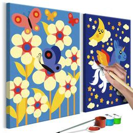 Picturua pe numere - Fluture si Unicorn
