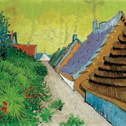 Poster Van Gogh Strada in Arles inramat, 60x80 cm