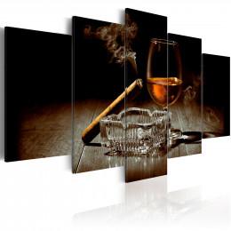 Tablou canvas Sub acoperire cu un pahar de vin si tigara, 5 piese