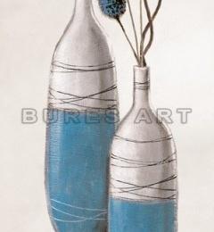 Tablou decorativ ''Vaze albastre cu plante albastre'' - inramat