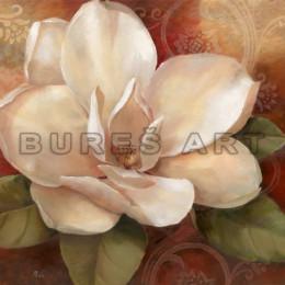 Tablou floral Trandafir alb diafan inramat cu rama de lemn