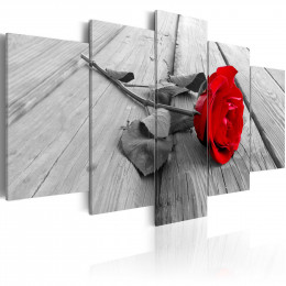 Tablou - Rose on Wood (5 Parts) Wide Red