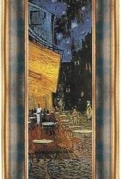 Tablou Van Gogh, Terasa cafenelei- fragment, rama albastra-aurie patinata