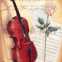 Tablou ''Vioara si trandafir'' inramat