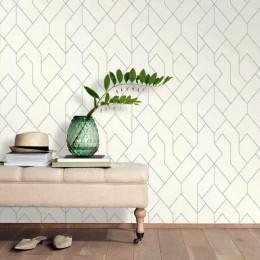 Tapet superlavabil model grafic geometric grim alb