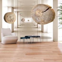 Fototapet 3D Discuri de lemn plutind