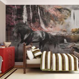 Fototapet - Black horse by a waterfall
