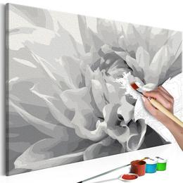 Pictura pe numere - Floare Alb Negru