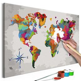 Pictura pe numere - Harta Lumii (Busola)