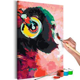 Pictura pe numere - Maimuta cu Casti