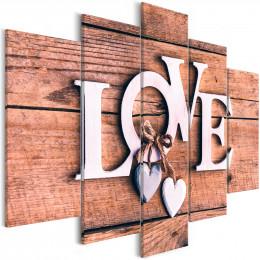 Tablou canvas Love pe lemn, 5 piese